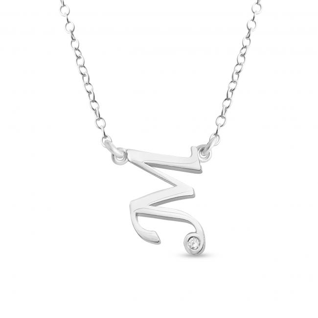 925 sterling silver necklace Initial Script Letter M with CZ Sideways