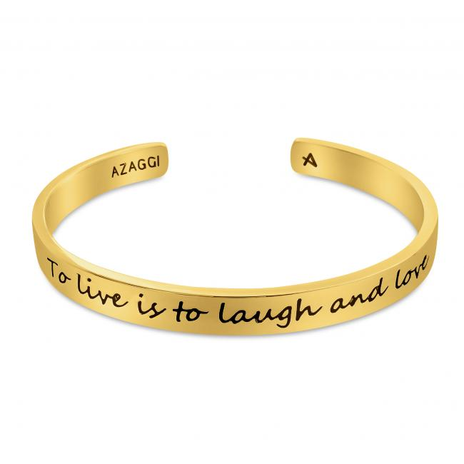 Gold plated bracelet Brass/ Rhodium To Live is to Laugh and Love Inspirational Cuff Bracelet