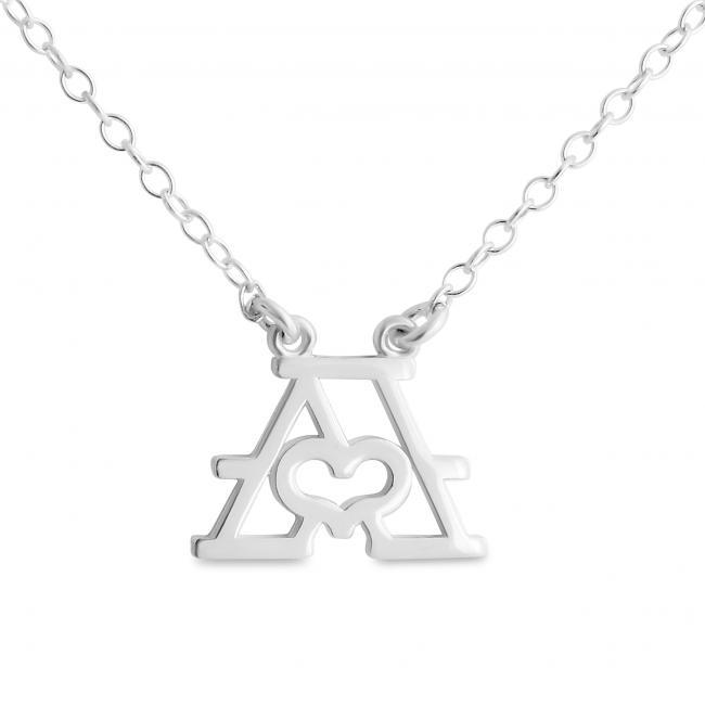 925 sterling silver necklace Initial Letter A with Heart Sideways