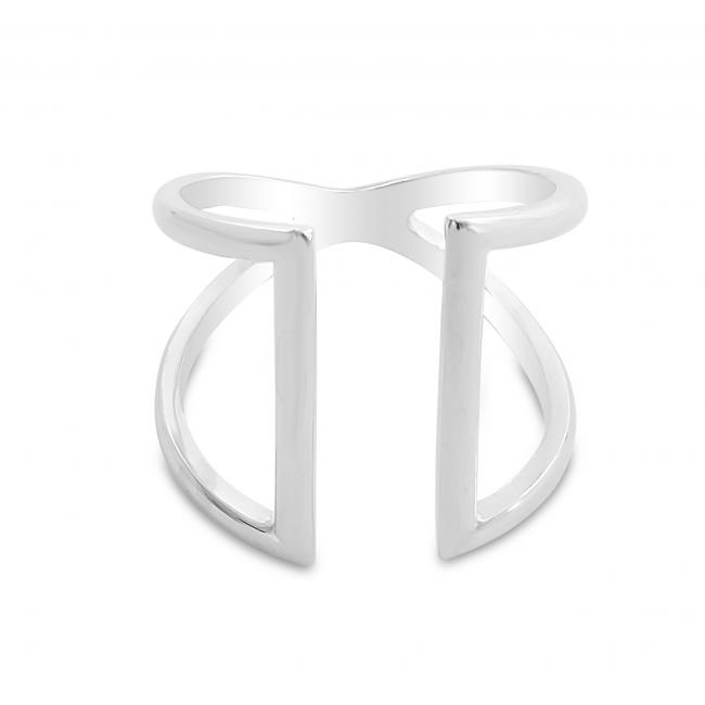 925 sterling silver ring Two Parallel Lines Open Ring