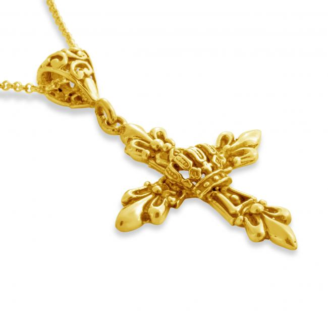 Gold plated necklace Royal Budded Cross