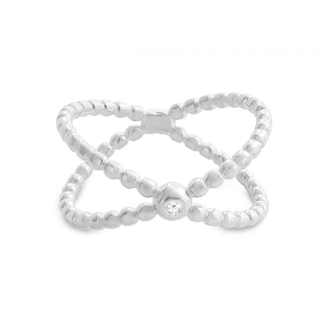 925 sterling silver ring Textured Wide X Criss Cross Infinity with CZ Ring