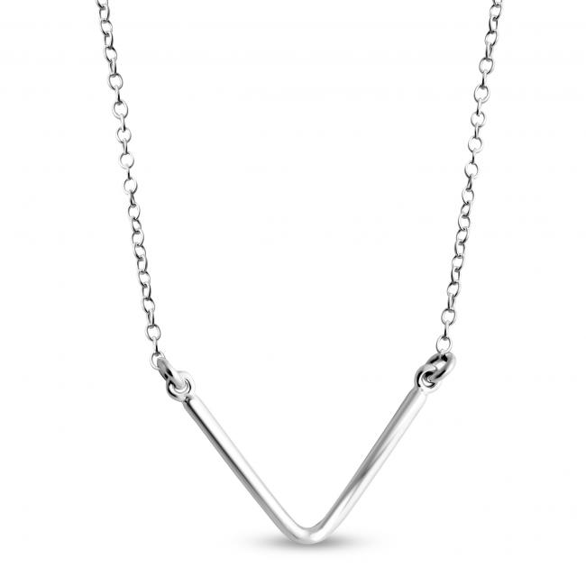 925 sterling silver necklace Plain V Sideways