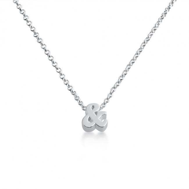 925 sterling silver necklace Initial Letter & Personalized Symbols & Letters Serif Font