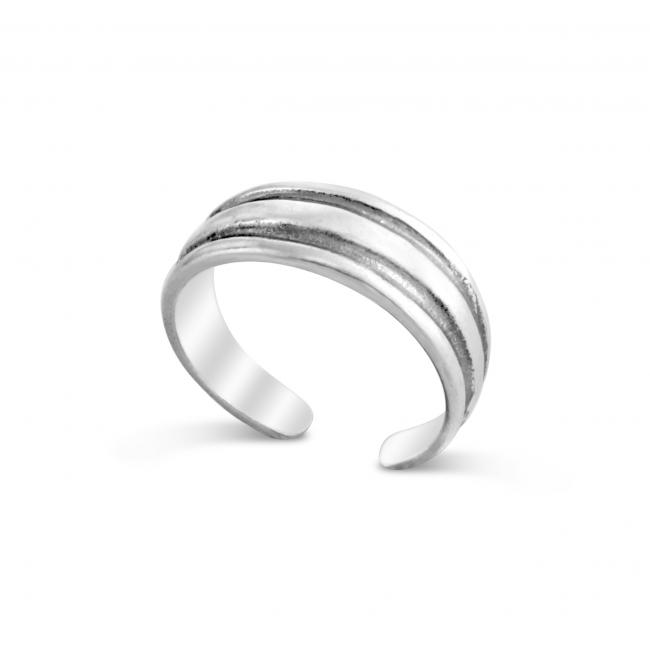 925 sterling silver ring 2 Lines Adjustable Toe Ring