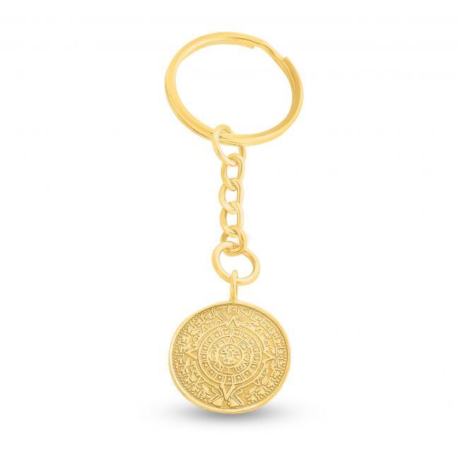 Gold plated keychain Aztec Calendar Keychain