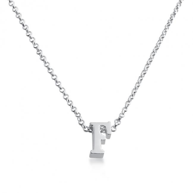 925 sterling silver necklace Initial Letter F Personalized Symbols & Letters Serif Font