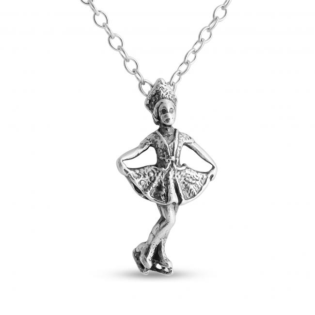 925 sterling silver necklace 3D Girl Figure Skater Winter Sports Fan