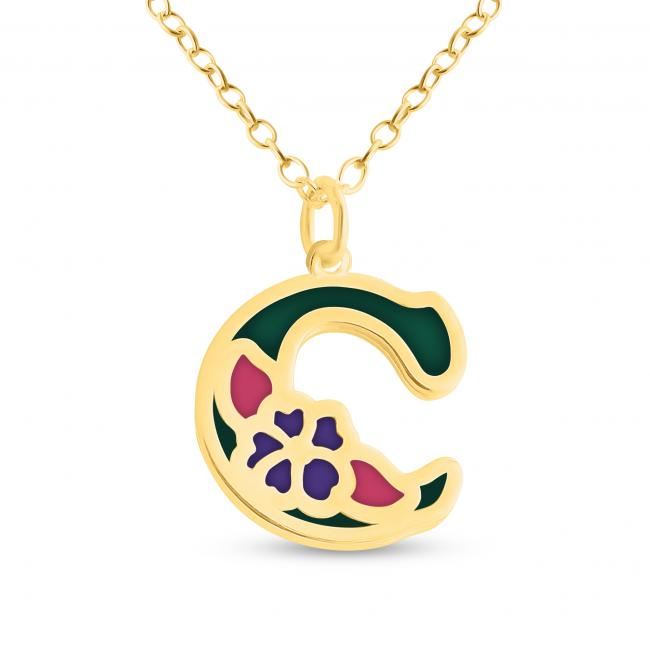 Gold plated necklace Colored Initial Letter C with Flower