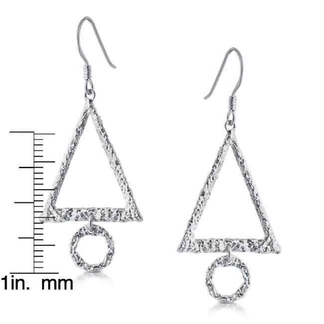925 sterling silver earrings Textured Triangle