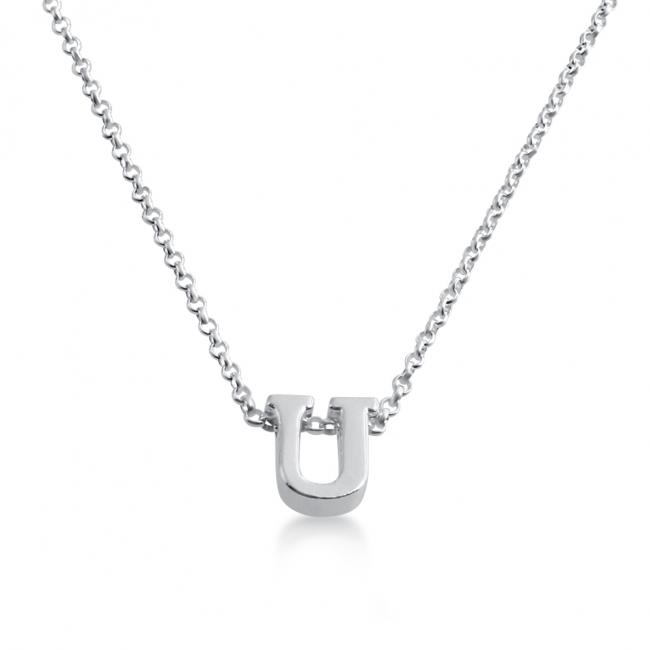 925 sterling silver necklace Initial Letter U Personalized Symbols & Letters Serif Font