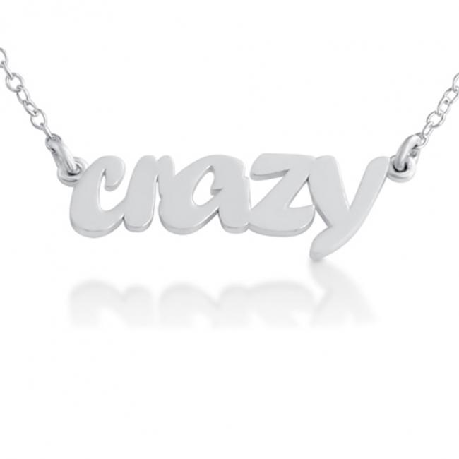 925 sterling silver necklace CRAZY (Script Word)