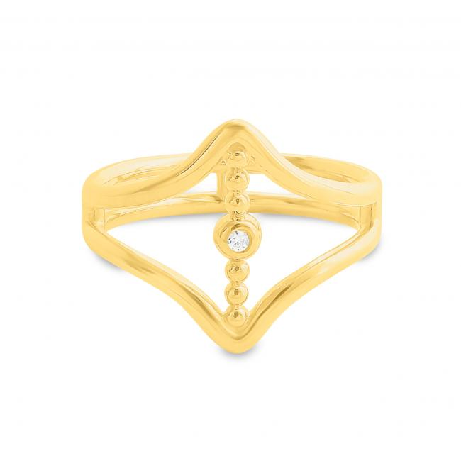 Gold plated ring Vertical CZ Bar between Double V Chevron Plain Double Band Ring