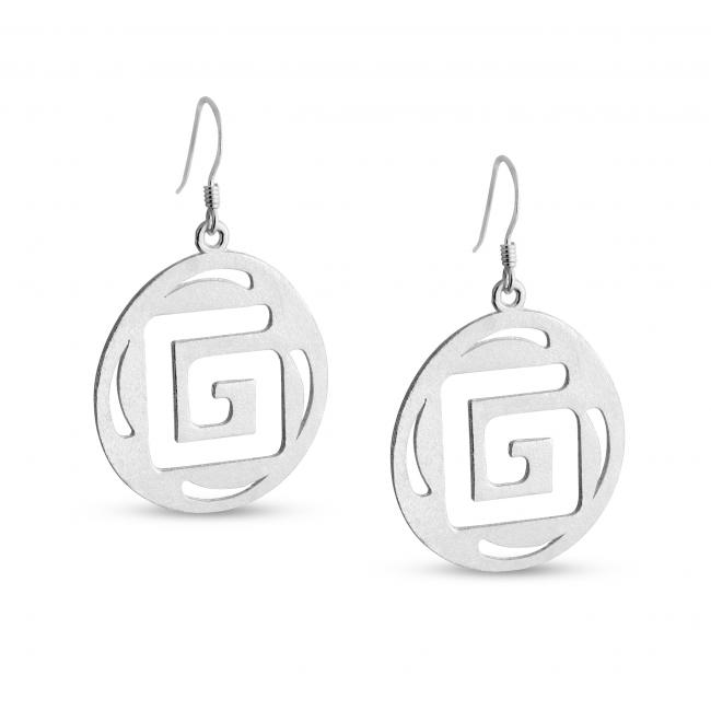 925 sterling silver earrings Outline Square G Textured Round Shape