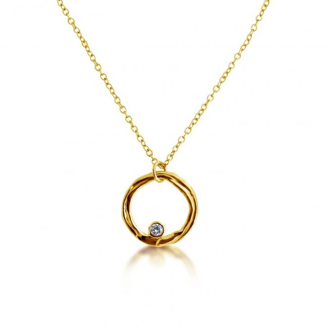 Gold plated necklace Karma Ring w/ CZ