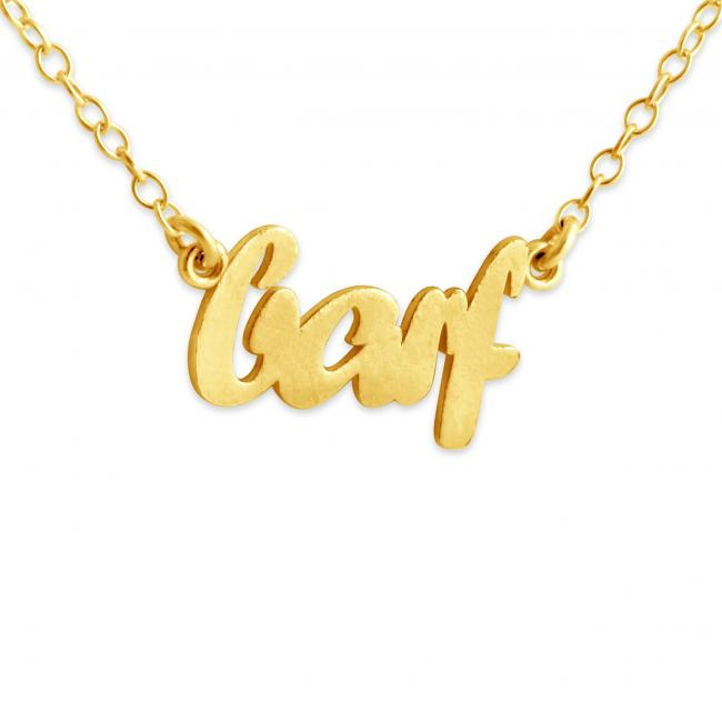 Gold plated necklace BARF (Script Word)