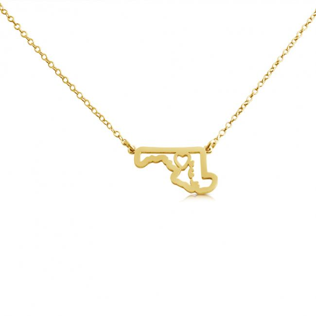 Gold plated necklace Maryland Home is Where The Heart Is State Necklace