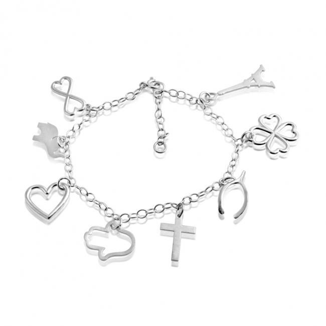 925 sterling silver bracelet Eight Piece Love and Luck Multi Charm