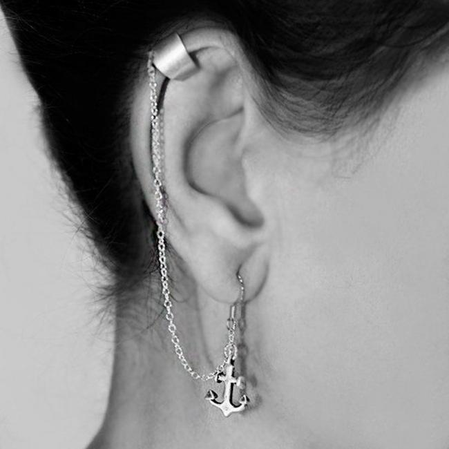 925 sterling silver earrings Drop Dangle Anchor Ear Cuff Wrap