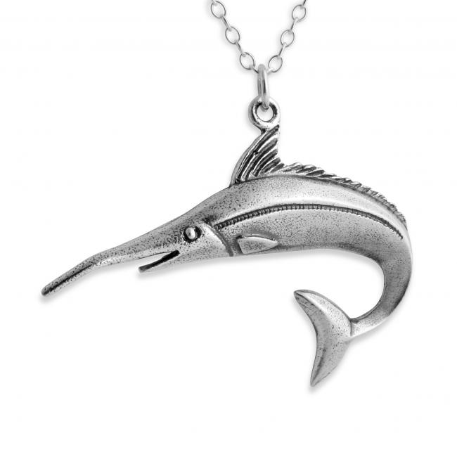 925 sterling silver necklace Jumping White Marlin Fish Fishing Water Sport