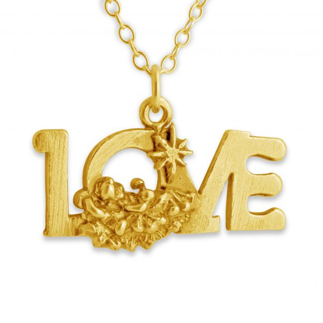 Gold plated necklace LOVE Word Romantic