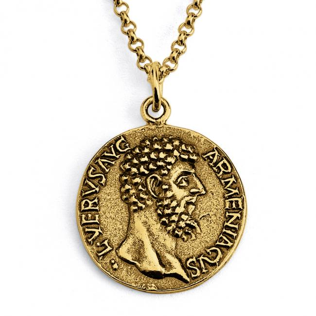 Gold plated necklace Replica Lucius Verus Roman Emperor Ancient COIN