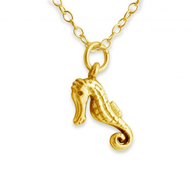 Gold plated necklace 3D Cute Seahorse Sea Horse Fish