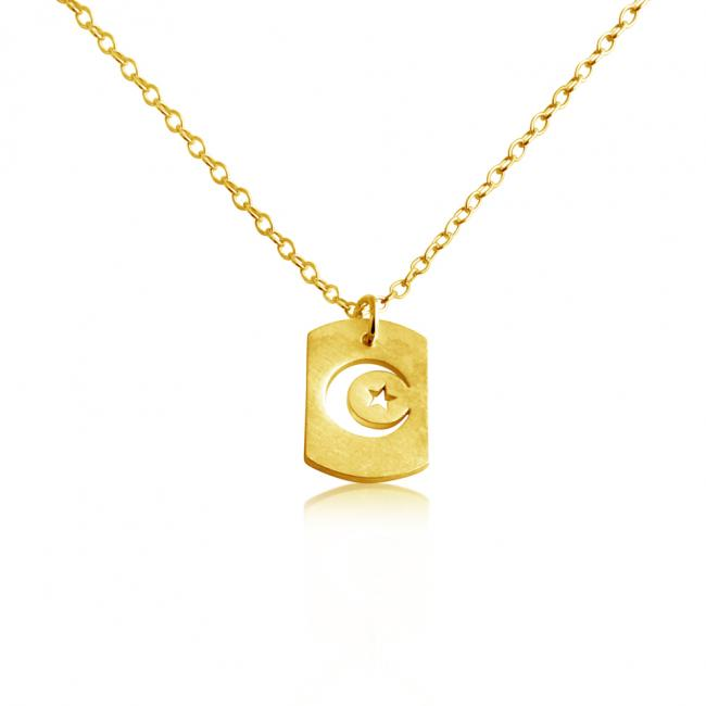 Gold plated necklace Moon & Star Dog Tag