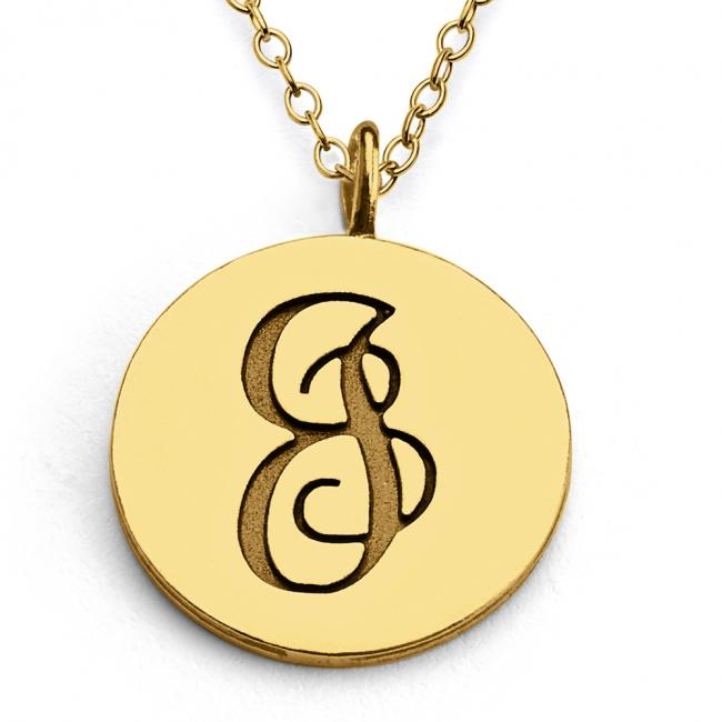Gold plated necklace J Script Letters