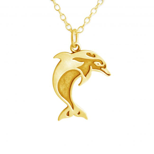 Gold plated necklace 2-Toned Swimming Dolphin
