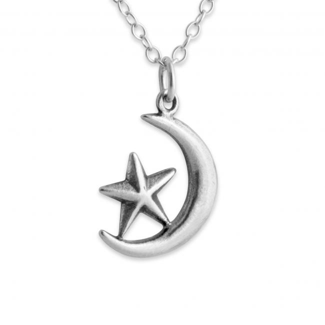 925 sterling silver necklace Cresent Moon + Star