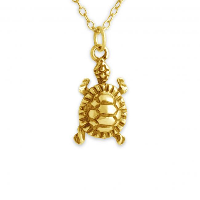 Gold plated necklace 3D Cute Turtle Tortoise
