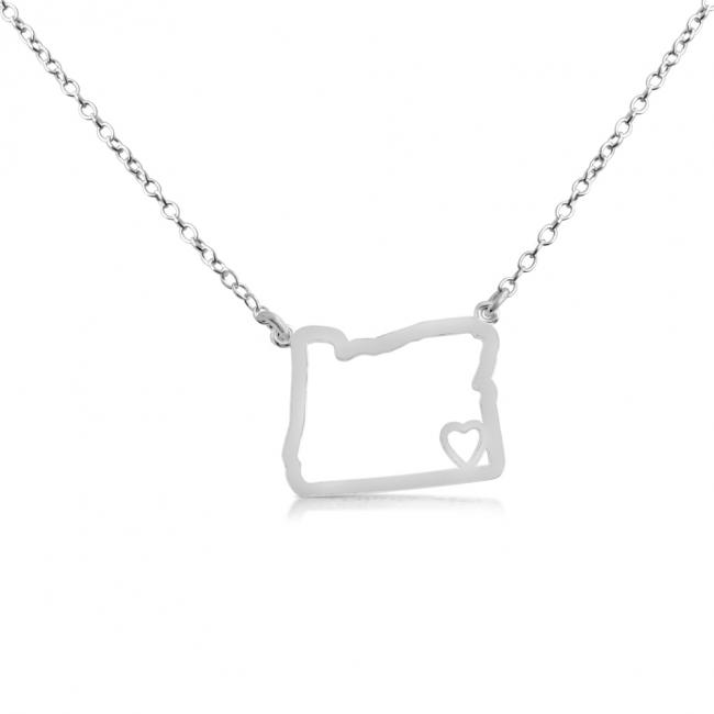 925 sterling silver necklace Oregon Home is Where The Heart Is State Necklace