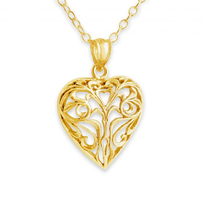 Gold plated necklace Vintage Openwork Heart Romantic Love