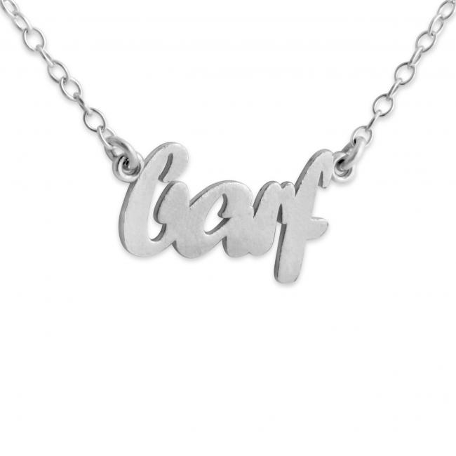 925 sterling silver necklace BARF (Script Word)