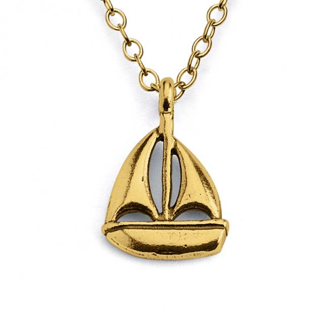 Gold plated necklace Sail Boat Yacht Regatta