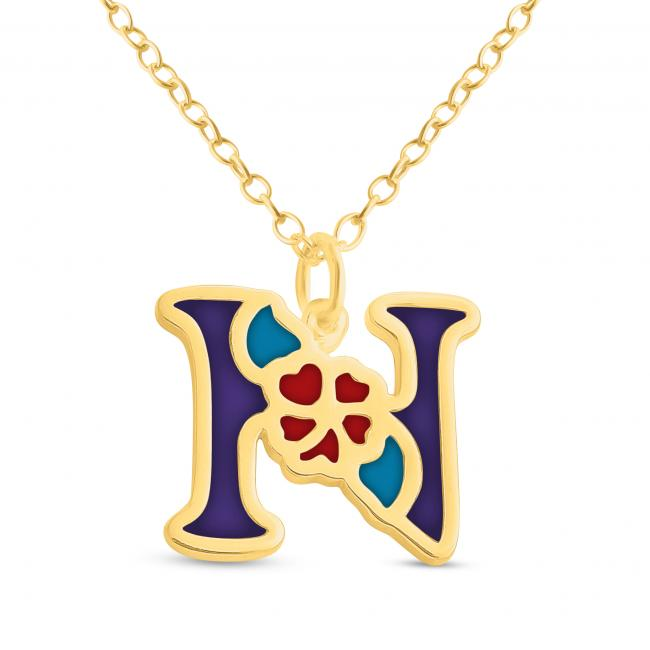 Gold plated necklace Colored Initial Letter N with Flower