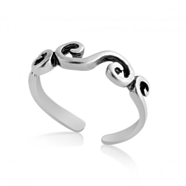 925 sterling silver ring Curls Adjustable Toe Ring