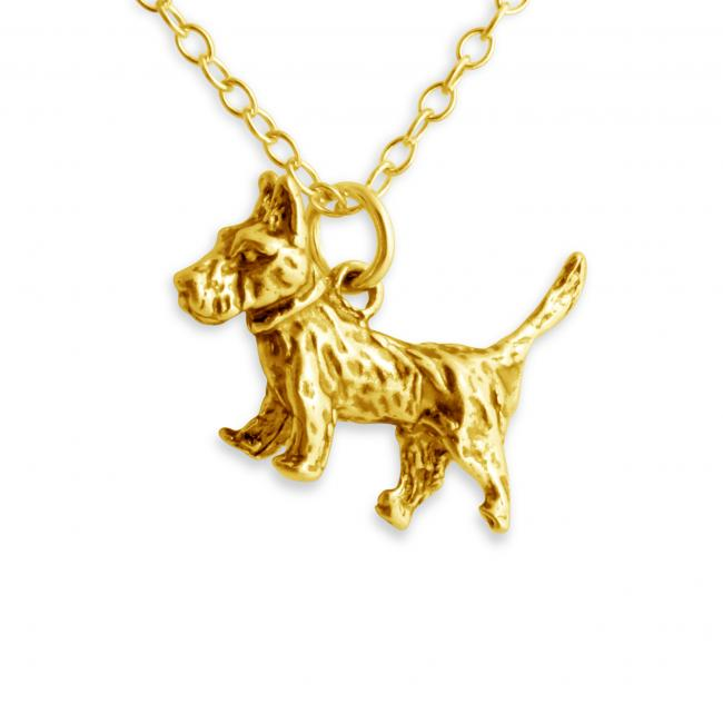 Gold plated necklace Solid 3D Cute Terrier Dog Puppy Pet