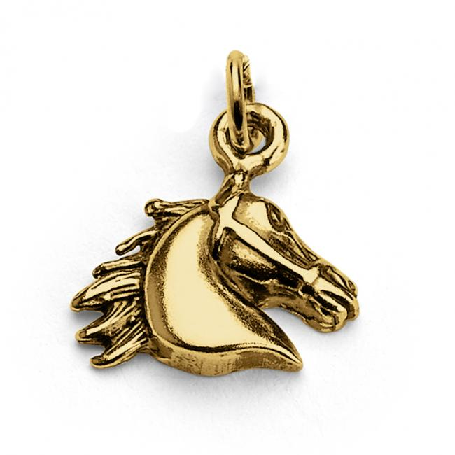 Gold plated necklace Horse Head Animal