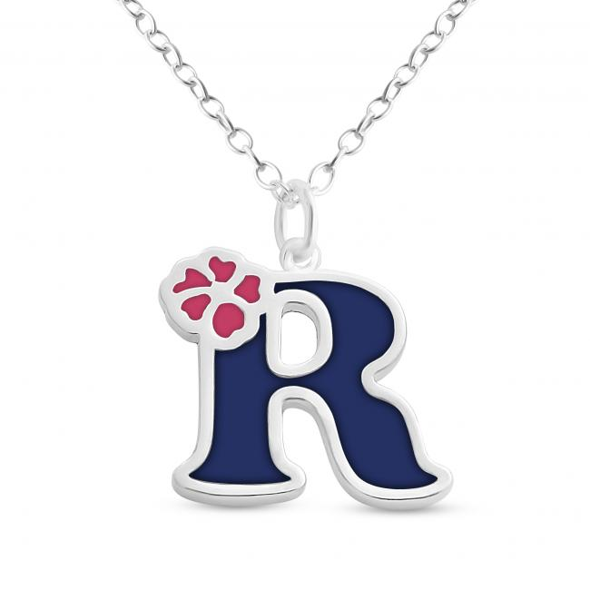 925 sterling silver necklace Colored Initial Letter R with Flower