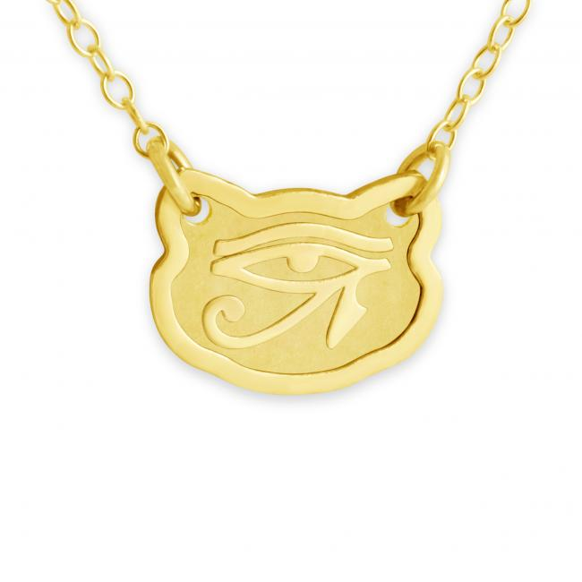 Gold plated necklace Feline Eye of Horus