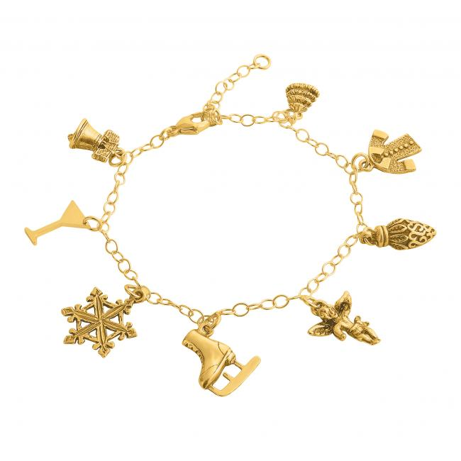 Gold plated bracelet Christmas Spirit Multi Charm