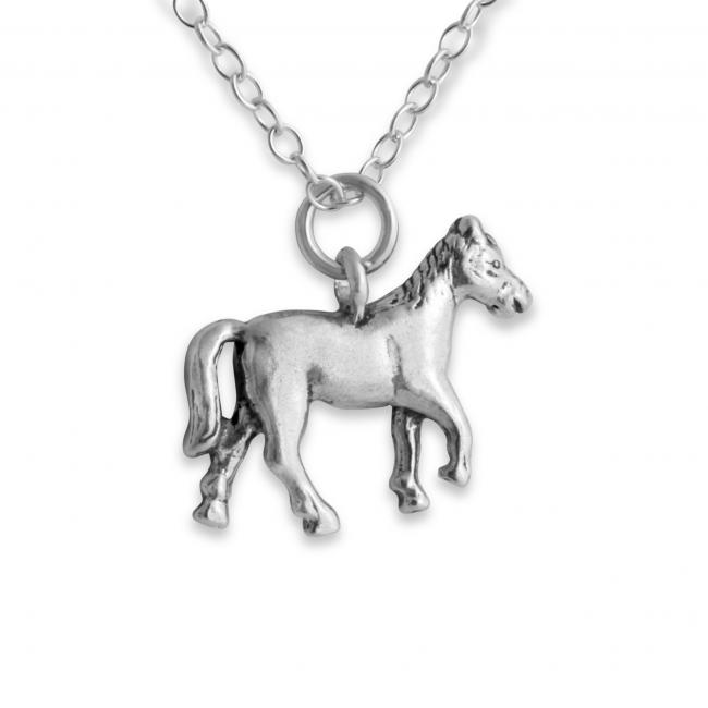 925 sterling silver necklace Solid 3D Trotting Horse