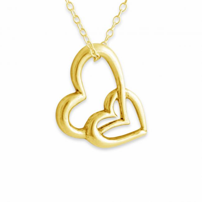 Gold plated necklace Heart in Heart