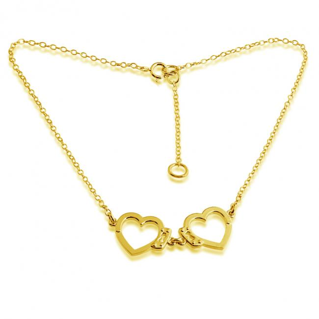 Gold plated anklet Open Heart Shaped Love Hand Cuff
