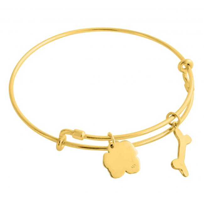 Gold plated bracelet Happy Puppy Adjustable Wire Bangle