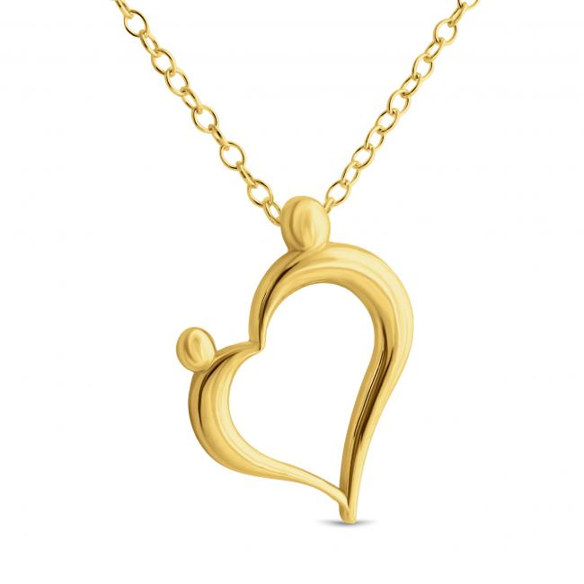 Gold plated necklace mother and child family love heart mozeypictures Images