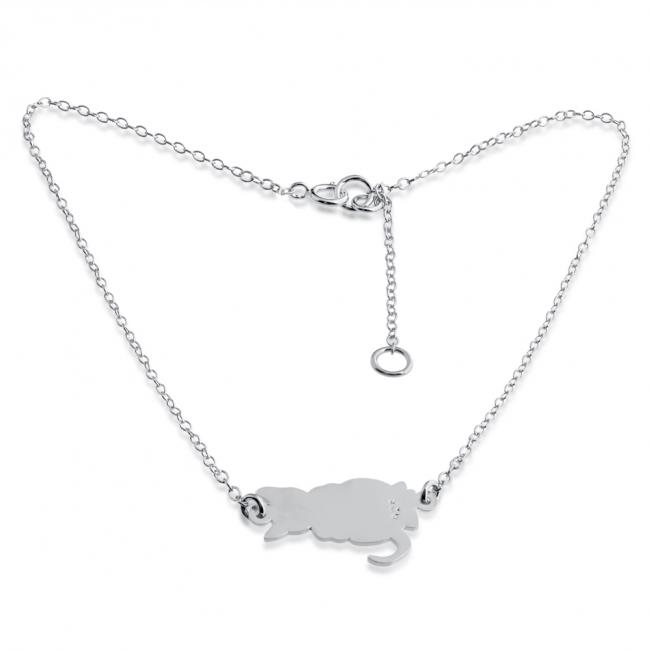 925 sterling silver anklet Cute Cat Kitty Charm Pendant