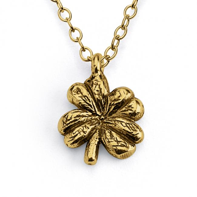 Gold plated necklace Lucky Four Leaf Clover Irish